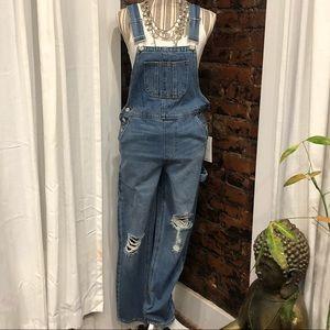 Denim - Distressed denim overalls